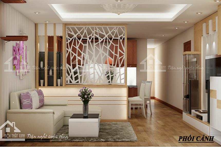 Không gian phòng khách được trang trí với tone màu nhẹ nhàng, điểm nhấn là những mảng màu tím pastel của mẫu