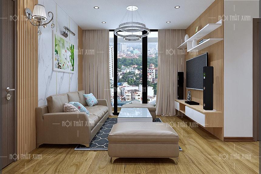 Thiết kế thi công nội thất căn hộ chung cư trọn gói căn hộ chung cư với phòng khách tạo điểm nhấn nhờ bộ ghế sofa cao cấp bằng da