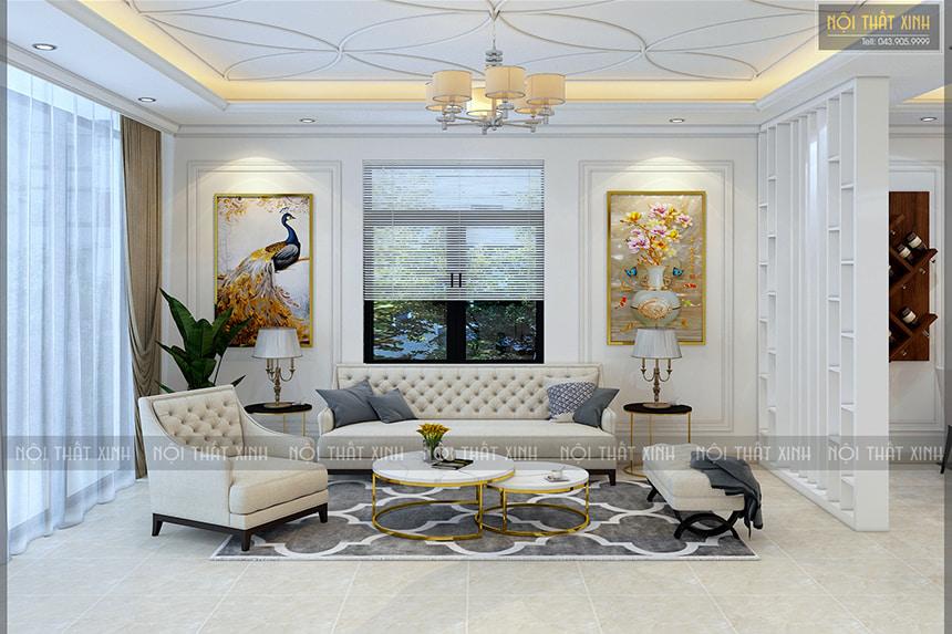 Không gian thiết kế nội thất phòng khách trong biệt thự liền kề nhà chị Mây