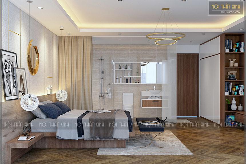 Thiết kế nội thất phòng ngủ nhà chị Mây tạo không gian mở ở khu vực nhà tắm