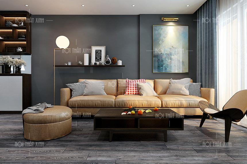 Thiết kế nội thất phòng khách tạo điểm nhấn sang trọng với mẫu sofa cao cấp kết hợp với bàn trà gỗ màu nâu đen hài hòa tinh tế