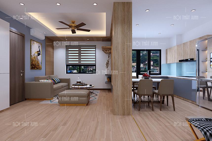 Thiết kế nội thất phòng khách căn hộ chung cư nhà anh Cường