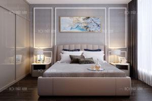 Thiết kế nội thất phòng ngủ bố mẹ sang trọng với gam màu trầm sáng cuốn hút